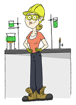 Helen Helmet, standing in front of a lab bench, wearing one of the helmets that she's about to test.